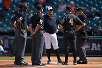 Sam Houston State Bearkats head coach Matt Deggs (center) meets with Vanderbilt Commodores head coach Tim Corbin (4) and umpires Ryan Morehead, Matt McKendry, Chris Booker, and Michael <br /> Start prior to game one of the 2018 Shriners Hospitals for Children College Classic at Minute Maid Park on March 2, 2018 in Houston, Texas. The Bearkats walked-off the Commodores 7-6 in 10 innings.   (Brian Westerholt/Four Seam Images)