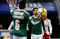 Harrison, NJ - Tuesday April 10, 2018: Edwin Hernández, Rodolfo Pizarro during leg two of a  CONCACAF Champions League semi-final match between the New York Red Bulls and C. D. Guadalajara at Red Bull Arena. C. D. Guadalajara defeated the New York Red Bulls 0-0 (1-0 on aggregate).