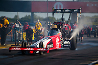 Aug 8, 2020; Clermont, Indiana, USA; NHRA top fuel driver Doug Kalitta during qualifying for the Indy Nationals at Lucas Oil Raceway. Mandatory Credit: Mark J. Rebilas-USA TODAY Sports