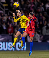 COLUMBUS, OH - NOVEMBER 07: Magdalena Eriksson #6 of Sweden goes up for a header with Carli Lloyd #10 of the United States during a game between Sweden and USWNT at Mapfre Stadium on November 07, 2019 in Columbus, Ohio.