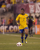 Brazil forward Robinho (7) at midfield. Brazil  defeated the US men's national team, 2-0, in a friendly at Meadowlands Stadium on August 10, 2010.