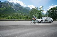 Gianluca Brambilla (ITA/OPQS) on his way back to the peloton<br /> <br /> 2014 Giro d'Italia <br /> stage 17: Sarnonico - Vittori Veneto (208km)