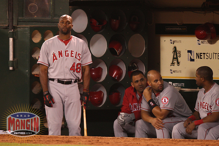 OAKLAND, CA - AUGUST 7:  Torii Hunter of the Los Angeles Angels stands in the dugout during the game against the Oakland Athletics at O.co Coliseum on Tuesday, August 7, 2012 in Oakland, California. Photo by Brad Mangin