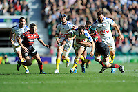 Morgan Parra of ASM Clermont Auvergne is tackled by Steve Borthwick of Saracens during the Heineken Cup semi-final match between Saracens and ASM Clermont Auvergne at Twickenham Stadium on Saturday 26th April 2014 (Photo by Rob Munro)