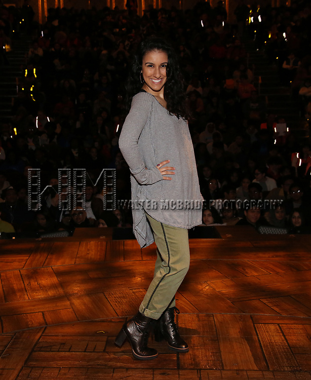 "Gabriella Sorrentino during the Q & A before The Rockefeller Foundation and The Gilder Lehrman Institute of American History sponsored High School student #eduHAM matinee performance of ""Hamilton"" at the Richard Rodgers Theatre on 3/12/2020 in New York City."