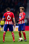 Antoine Griezmann of Atletico de Madrid talks to teammate Jorge Resurreccion Merodio, Koke, during the UEFA Europa League 2017-18 Round of 16 (1st leg) match between Atletico de Madrid and FC Lokomotiv Moscow at Wanda Metropolitano  on March 08 2018 in Madrid, Spain. Photo by Diego Souto / Power Sport Images