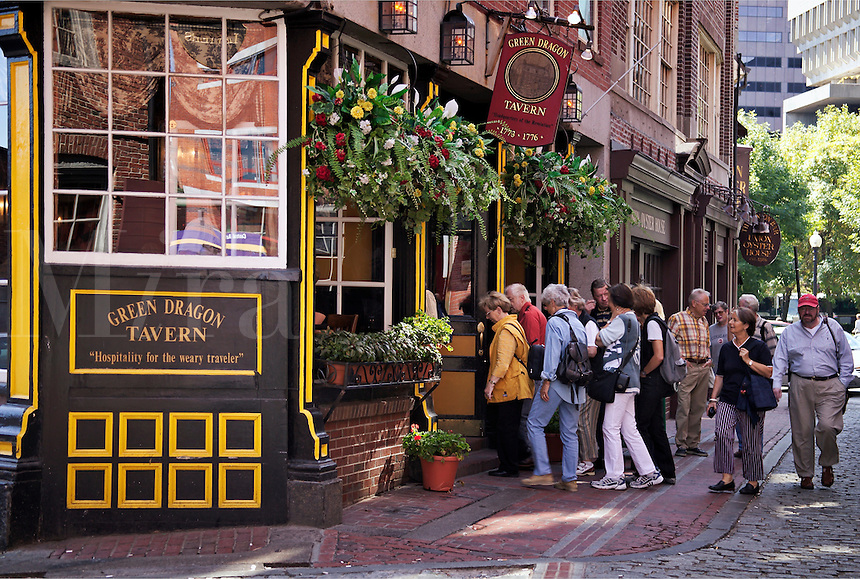 Tour group stops for lunch at Green Dragon Tavern, Boston, M