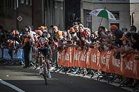 race leader Bob Jungels (LUX/Quick Step Floors) solo towards the finish.<br /> <br /> 104th Liège - Bastogne - Liège 2018 (1.UWT)<br /> 1 Day Race: Liège - Ans (258km)
