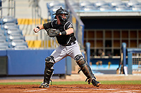 FCL Pirates Black catcher Henry Davis (32) throws down to second base in the bottom of the first inning during a game against the FCL Rays on August 3, 2021 at Charlotte Sports Park in Port Charlotte, Florida.  Davis was making his professional debut after being selected first overall in the MLB Draft out of Louisville by the Pittsburgh Pirates.  (Mike Janes/Four Seam Images)