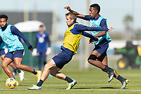 BRADENTON, FL - JANUARY 19: Jackson Yell, Andres Perea battle for a ball during a training session at IMG Academy on January 19, 2021 in Bradenton, Florida.