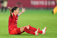 YOKOHAMA, JAPAN - AUGUST 6: Captain Christine Sinclair #12 of Canada complains for a penalty call after a foul during a game between Canada and Sweden at International Stadium Yokohama on August 6, 2021 in Yokohama, Japan.