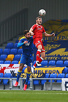 Ollie Palmer of AFC Wimbledon and Jordan Tunnicliffe of Crawley Town during AFC Wimbledon vs Crawley Town, Emirates FA Cup Football at Plough Lane on 29th November 2020