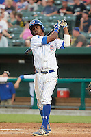 South Bend Cubs left fielder Roberto Caro (43) at bat during a game against the Burlington Bees on July 22, 2016 at Four Winds Field in South Bend, Indiana.  South Bend defeated Burlington 4-3.  (Mike Janes/Four Seam Images)
