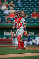 Peoria Chiefs catcher Ivan Herrera (4) during a Midwest League game against the Fort Wayne TinCaps on July 17, 2019 at Parkview Field in Fort Wayne, Indiana.  Fort Wayne defeated Peoria 6-2.  (Mike Janes/Four Seam Images)