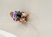 4 December 2015: Justin Garret Krewson and Andrew Sherk, sliding for the United States of America, bank into a turn on their first run of the Doubles Competition during the Viessmann Luge World Cup Series at the Olympic Sports Track in Lake Placid, New York, USA. Mandatory Credit: Ed Wolfstein Photo *** RAW (NEF) Image File Available ***
