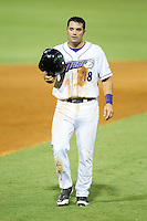 Grant Buckner (28) of the Winston-Salem Dash takes off his batting helmet following the third out of the inning during the game against the Frederick Keys at BB&T Ballpark on July 29, 2014 in Winston-Salem, North Carolina.  The Dash defeated the Keys 4-0.   (Brian Westerholt/Four Seam Images)