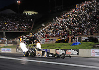 Jul, 22, 2011; Morrison, CO, USA: NHRA top fuel dragster driver Del Worsham during qualifying for the Mile High Nationals at Bandimere Speedway. Mandatory Credit: Mark J. Rebilas-