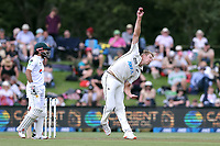 Kyle Jamieson of New Zealand bowling during day one of the second International Test Cricket match between the New Zealand Black Caps and Pakistan at Hagley Oval in Christchurch, New Zealand on Sunday, 3 January 2021. Photo: Martin Hunter / lintottphoto.co.nz