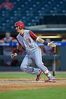 Evan Mendoza (18) of the North Carolina State Wolfpack starts down the first base line against the North Carolina Tar Heels in Game Twelve of the 2017 ACC Baseball Championship at Louisville Slugger Field on May 26, 2017 in Louisville, Kentucky. The Tar Heels defeated the Wolfpack 12-4. (Brian Westerholt/Four Seam Images)