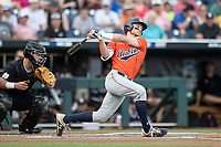 Auburn Tigers outfielder Judd Ward (1) follows through on his swing during Game 4 of the NCAA College World Series against the Mississippi State Bulldogs on June 16, 2019 at TD Ameritrade Park in Omaha, Nebraska. Mississippi State defeated Auburn 5-4. (Andrew Woolley/Four Seam Images)