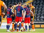Hull City defender Jacob Greaves lies injured after a clash with Sunderland's Charlie Wyke. Hull players alleged the use of an elbow by Wyke. Hull 2 Sunderland 2, League One 20th April 2021.