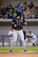 Conrad Gregor (3) of the New Jersey Jackals at bat against the Sussex County Miners at Skylands Stadium on July 29, 2017 in Augusta, New Jersey.  The Miners defeated the Jackals 7-0.  (Brian Westerholt/Four Seam Images)