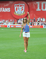 Former US Women's soccer Brandi Chastain. The USMNT defeated Germany 4-3, during and international friendly commemorating the centennial celebration for U.S. Soccer, at RFK Stadium, Sunday July 2 , 2013.
