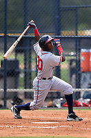 GCL Braves outfielder Erison Mendez (30) at bat during the second game of a doubleheader against the GCL Yankees 1 on July 1, 2014 at the Yankees Minor League Complex in Tampa, Florida.  GCL Braves defeated the GCL Yankees 1 by a score of 3-1.  (Mike Janes/Four Seam Images)