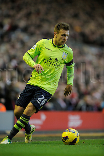 15.12.2012. Liverpool, England. Andreas Weimann of Aston Villa   in action during the Premier League game between Liverpool and Aston Villa from Anfield,Liverpool