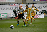 ATTENTION SPORTS PICTURE DESK<br /> Pictured: David Cotterill of Swansea City battles with Wayne Routeledge of Newcastle United <br /> Re: Coca Cola Championship, Swansea City Football Club v Newcastle United at the Liberty Stadium, Swansea, south Wales. 13 February 2010