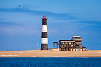 Pelican Point Lighthouse, Pelican Point, Walvis Bay, Namib Desert, Erongo Region, Namibia, Africa, Atlantic Ocean