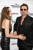 Angelina Jolie & Brad Pitt  arriving  at the Los Angeles Premiere of Inglourious Basterds at Grauman's Chinese Theater in Los Angeles, CA  on August 10,  2009 .©2009 Kathy Hutchins / Hutchins Photo.