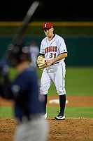 Indianapolis Indians relief pitcher A.J. Schugel (31) during a game against the Toledo Mud Hens on May 2, 2017 at Victory Field in Indianapolis, Indiana.  Indianapolis defeated Toledo 9-2.  (Mike Janes/Four Seam Images)