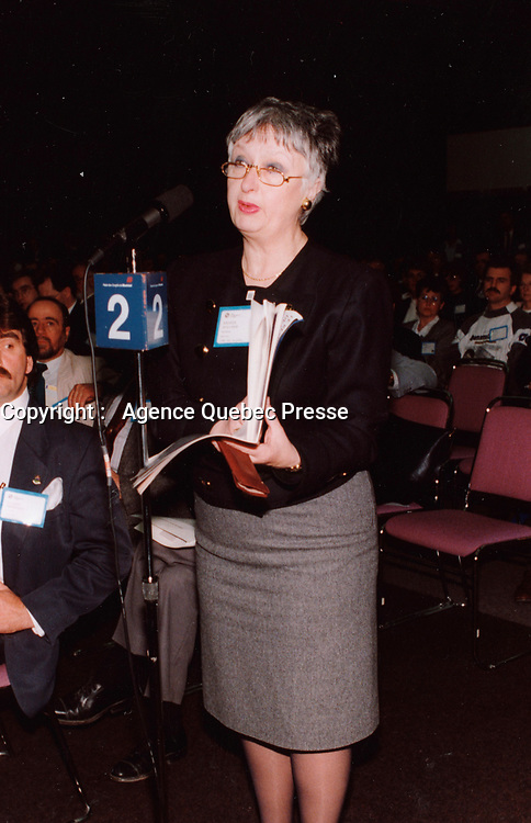 Montreal (QC) CANADA, April 4, 1992 File Photo<br /> <br /> Andree Boucher, (then) Mayor of Sainte-Foy (suburb) of Quebec City)  during the 1992 convention of l'Union des Municipalite du Quebec (UMQ) at Montreal Convention Center.<br /> <br /> Mayor Andree Boucher, died  of a heart attack. at her home on Friday, August 24, 2007.She was 70.<br /> <br /> She was elected mayor of Quebec City in 2005 and was known for running a simple, down-to-earth campaign that cost about $5,000 and included inviting voters into her home to talk about issues.<br /> <br /> The colourful mayor was preparing for celebrations of the 400th anniversary of Quebec City and had recently complained about the event's poor planning.<br /> <br /> <br /> photo : (c) 1992,Pierre Roussel -  images Distribution