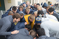 BERKELEY, CA - Feb. 18, 2017: The  Cal Men's Swimming and Diving team gathers for a team huddle before competing against Stanford at Spieker Aquatics Complex.