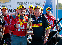 Sep 2, 2019; Clermont, IN, USA; NHRA top fuel driver Doug Kalitta celebrates with team owner Connie Kalitta after winning the US Nationals at Lucas Oil Raceway. Mandatory Credit: Mark J. Rebilas-USA TODAY Sports