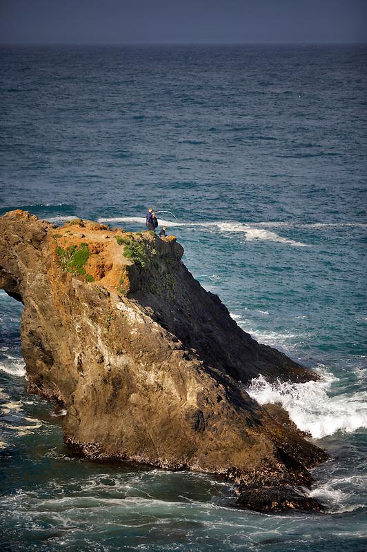 People fishing. Near Mendoceno. California