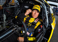 Aug 31, 2014; Clermont, IN, USA; NHRA pro stock driver Jeg Coughlin Jr during qualifying for the US Nationals at Lucas Oil Raceway. Mandatory Credit: Mark J. Rebilas-USA TODAY Sports