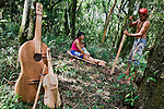 Mbya Guarani residents of aldea Katupyry near San Ignacio, Misiones, Argentina, with instruments hand-made in the community by a local elder.