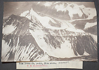 BNPS.co.uk (01202 558833)<br /> Pic: StroudAuctions/BNPS<br /> <br /> Pictured: A Somervell Everest picture at 25,000<br /> <br /> Fascinating art work by a British mountaineer who twice climbed Mount Everest have sold at auction a century later for over £30,000.<br /> <br /> Theodore Howard Somervell took part in pioneering expeditions to the Himalayas in 1922 and 1924.<br /> <br /> He got to within 1,000ft of the summit, the highest point reached at that time, despite not using an oxygen tank.<br /> <br /> The skilled artist produced dozens of watercolours and sketches of the scenes he witnessed, including glacial peaks and camp life.<br /> <br /> His works sparked a bidding war when they were sold by a direct descendant with Stroud Auctions, of Gloucs.  An oil on canvas painting of Everest base camp in 1922 sold for £7,500, almost 40 times its estimate.