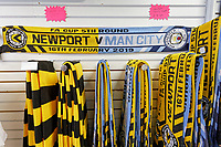 Pictured: Commemorative scarves for sale in the club shop in Newport, Wales, UK. Thursday 14 February 209<br /> Re: The city of Newport is preparing to host the FA Cup match between Newport County and Manchester City at Rodney Parade, Newport, Wales, UK.