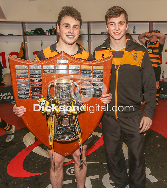 SCF2016 - RBAI vs Campbell College | Thursday 17th March 2016<br /> <br /> Conor and Ethan Field after the Ulster Schools Cup Final between RBAI and Campbell College at Kingspan Stadium, Ravenhill Park, Belfast, Northern Ireland. Photo credit: John Dickson / DICKSONDIGITAL