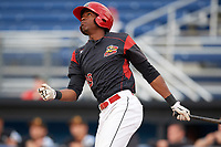 Batavia Muckdogs right fielder Thomas Jones (29) hits his first professional home run during a game against the West Virginia Black Bears on August 7, 2017 at Dwyer Stadium in Batavia, New York.  West Virginia defeated Batavia 6-3.  (Mike Janes/Four Seam Images)