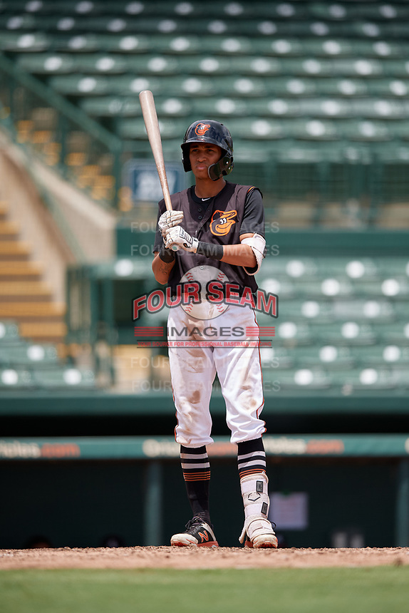 GCL Orioles Lamar Sparks (49) at bat during a Gulf Coast League game against the GCL Braves on August 5, 2019 at Ed Smith Stadium in Sarasota, Florida.  GCL Orioles defeated the GCL Braves 4-3 in the second game of a doubleheader.  (Mike Janes/Four Seam Images)