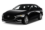 2019 Mazda Mazda-3 Preferred-Package 4 Door Sedan Angular Front stock photos of front three quarter view