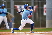 Indiana State Sycamores Jordan Schaffer (1) bats during a game against the Dartmouth Big Green on February 21, 2020 at North Charlotte Regional Park in Port Charlotte, Florida.  Indiana State defeated Dartmouth 1-0.  (Mike Janes/Four Seam Images)
