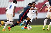 GUADALAJARA, MEXICO - MARCH 28: Jonathan Lewis #7 of the United States races towards the goal during a game between Honduras and USMNT U-23 at Estadio Jalisco on March 28, 2021 in Guadalajara, Mexico.