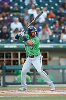 Andres Blanco (13) of the Gwinnett Braves at bat against the Charlotte Knights at BB&T BallPark on July 12, 2019 in Charlotte, North Carolina. The Stripers defeated the Knights 9-3. (Brian Westerholt/Four Seam Images)