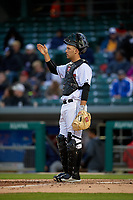 Indianapolis Indians catcher Jacob Stallings (32) during a game against the Toledo Mud Hens on May 2, 2017 at Victory Field in Indianapolis, Indiana.  Indianapolis defeated Toledo 9-2.  (Mike Janes/Four Seam Images)