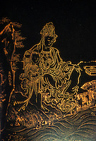 "Chinese Buddhist Art:  Portrait of Guanyin--gold on black paper. Inscription--""drawn by Miss Qiu of Women"", mid-late 16th C. She was especially noted for her pictures of the Bodhisattva of Mercy, Guanyin. The child is a Pilgrim.  VIEW FROM JADE TERRACE."